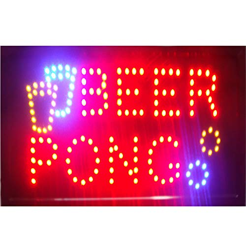 BAR NEON LED Open Sign 19 X 10 Inch (48 X 25 cm) ON Off Switch + Hanging Chain Lots of Styles Bar Beer Pub (48 X25 cm, Beer Pong) ()