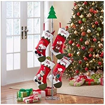 tall metal christmas stocking holder stand gold home kitchen. Black Bedroom Furniture Sets. Home Design Ideas