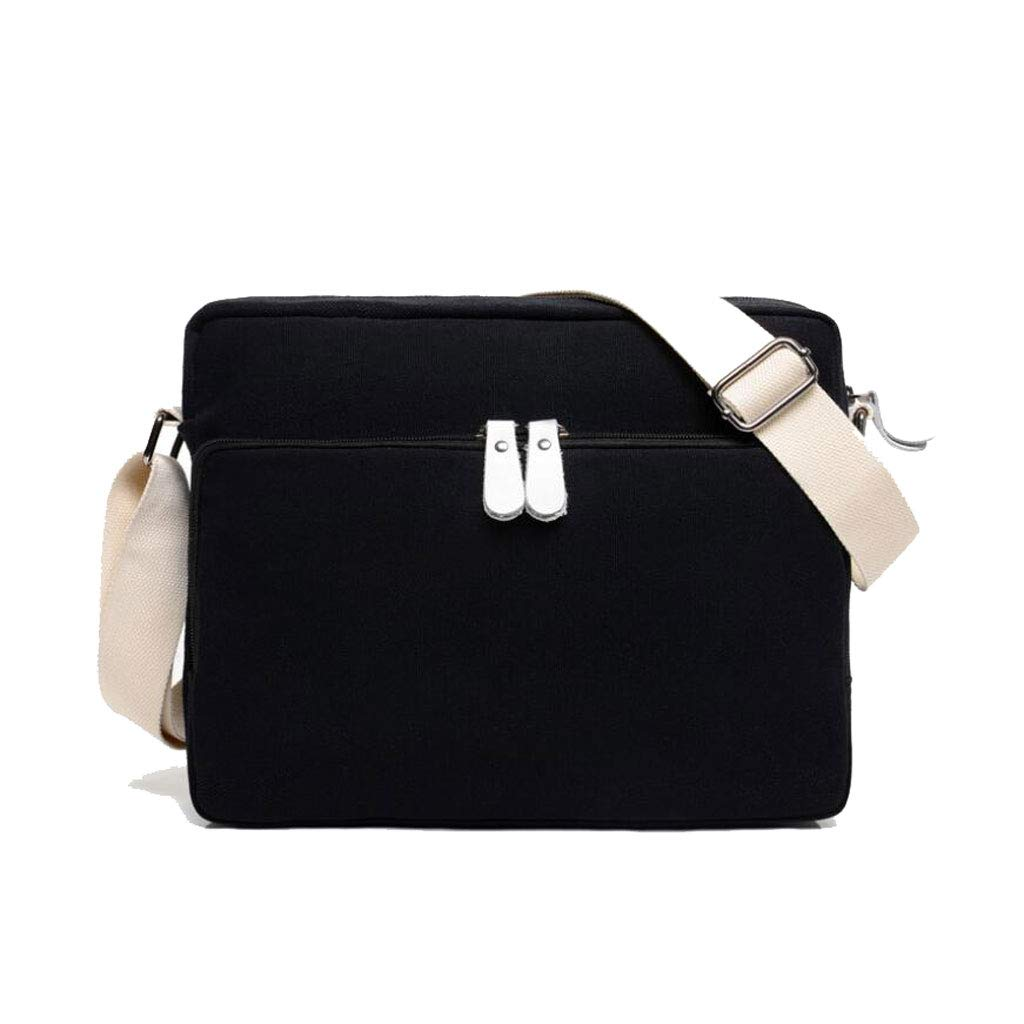 color : BLACK, Size : One size Unisex Shoulder Messenger Bag Simple Retro Zipper Waterproof Canvas Bag travel by walking 11.023.939.44IN LWH)