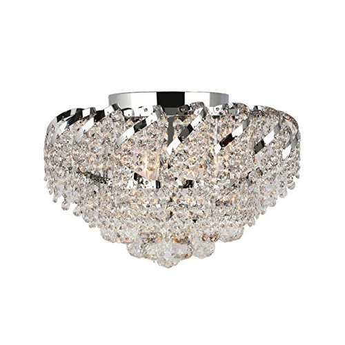 Worldwide Lighting Empire Collection 6 Light Chrome Finish and Clear Crystal Flush Mount Ceiling Light 16