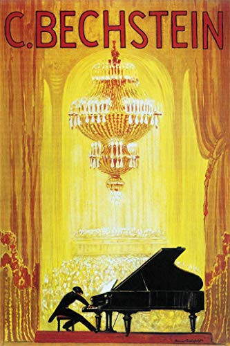 Laminated Carl Bechstein Pianoforte Piano German Vintage Ad Sign Poster 12x18 inch