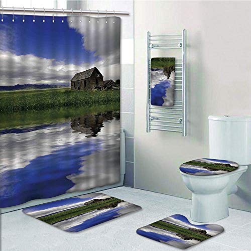 Bathroom 5 Piece Set shower curtain 3d print,Farm House Decor,Rustic Cottage with Clouds in Sky Reflected in Water of Lake Village Meadow,Blue Green White,Bath Mat,Bathroom Carpet Rug,Non-Slip,Bath -