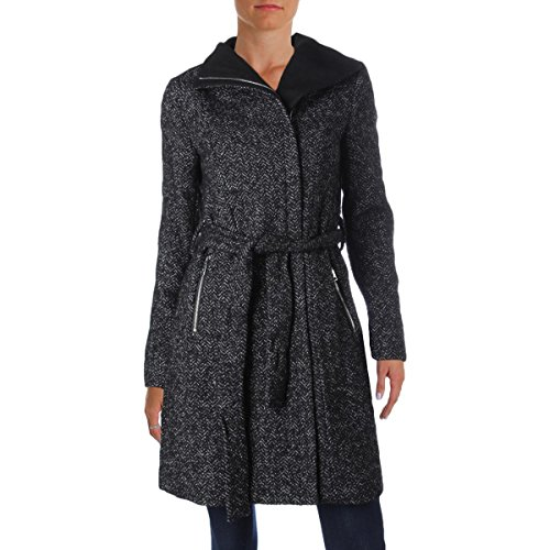 T Tahari Women's Eva Fitted Tweed Coat with Belt, Black Combo, X-Large