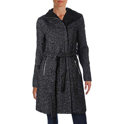 Tweed Coat Black (T Tahari Women's EVA Fitted Tweed Coat With Belt, Black Combo, Medium)