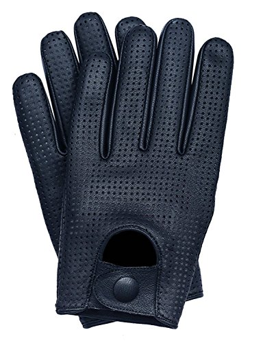 Riparo Men's Touchscreen Texting Mesh Perforated Summer Driving Motorcycle Leather Gloves (Large, Black)