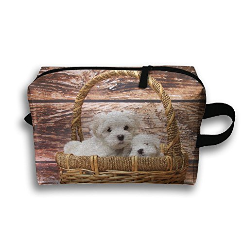 Dog Puppies In Basket Portable Multifunction Travel Pouches Woman Cosmetic Storage Bags Coin Purse Makeup Bag Pencil Holder