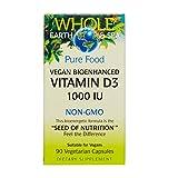 Whole Earth & Sea – Vitamin D3 1000 IU, 90 Vegetarian Capsules For Sale
