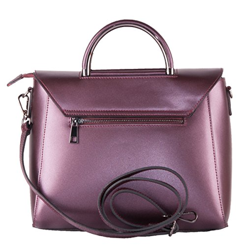 BORDERLINE - 100% Made in Italy - Bolso de cuero real - LAURA Bordeaux