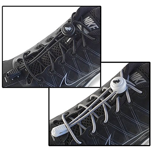 LACENLOCK Elastic No Tie Shoelaces, Solid Print, Replacement Laces Locks & Clips For Shoes Running Exercise Sports Golf Triathlon Athletes Toddlers Kids Adults Women Men Seniors, 2 Pack, Black-Gray