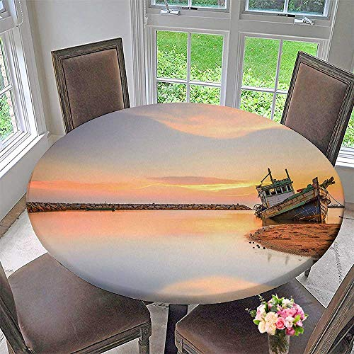 Mikihome Chateau Easy-Care Cloth Tablecloth Vessel on The Coast Exposure Dramatic Solitude Lonely Twilight Theme for Home, Party, Wedding 40
