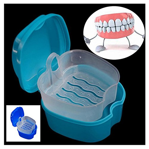 LiPing Denture Cup with Strainer, Denture Case with Lid, Dentures Box, Dental Retainer Container, Denture Bath Cleaning Soaking Cup, Mouth Guard Night Gum Shield Travel Storage Case