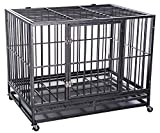 """Merax 42″ Heavy Duty Pet Dog Cage Crate Kennel, Hammered Silver (42″W X 30″L X 34""""H) Review"""
