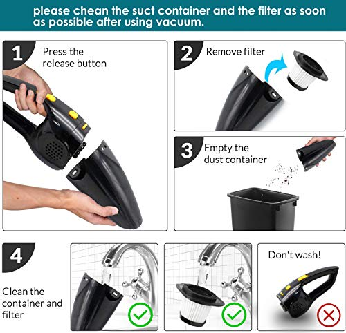 Handheld Vacuum Cordless, Portable Hand Vacuum Cleaner with High Power, Rechargeable Vacuum Cordless Car Vacuum Cleaners… 7