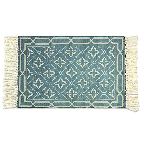 Seavish Cotton Printed Rug, Decorative Light Azure Blue Moroccan Kilim Rug Hand Woven Rag Rug Entryway Thin Throw Rug 2x3 for Laundry Room Living Room Dorm