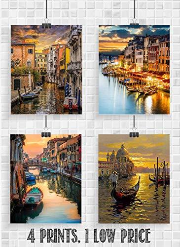 (Venice Riverboat Sunsets- 4 Image Set- 8 x 10
