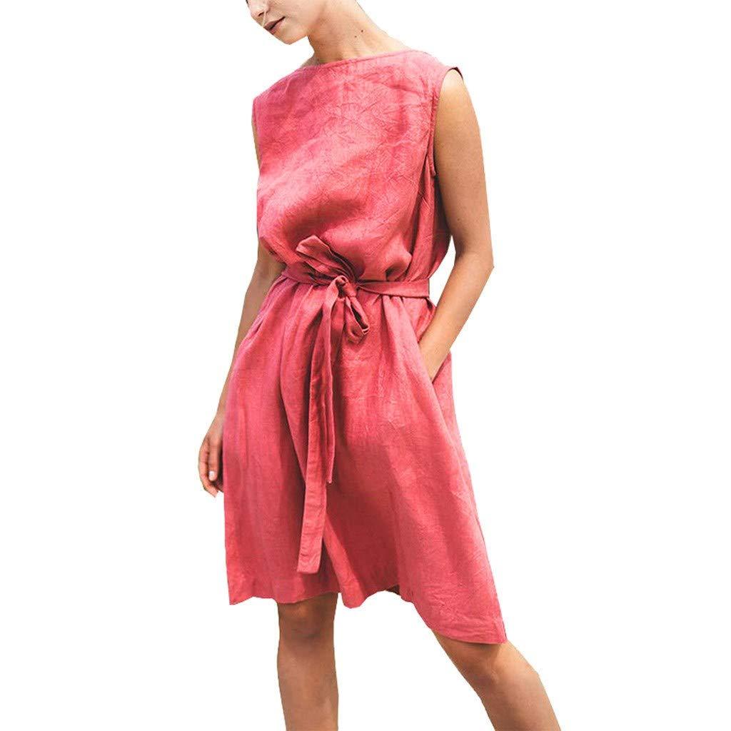 81193418f3b HITRAS Fashion Women Loose Short Sleeve Dresses Plain Dress Cotton Linen  Dresses with Pockets at Amazon Women s Clothing store