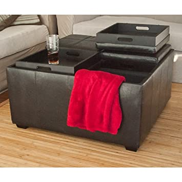 Admirable Best Choice Products Leather Ottoman With 4 Tray Tops Storage Bench Coffee Table Leather New Machost Co Dining Chair Design Ideas Machostcouk