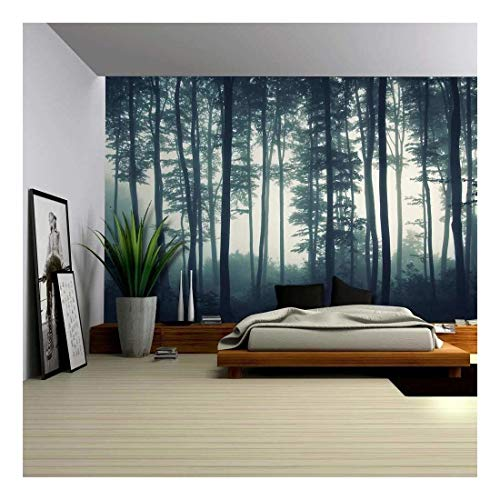 - Landscape Mural of a Misty Forest - Wall Mural, Removable Sticker, Home Decor - 100x144 inches