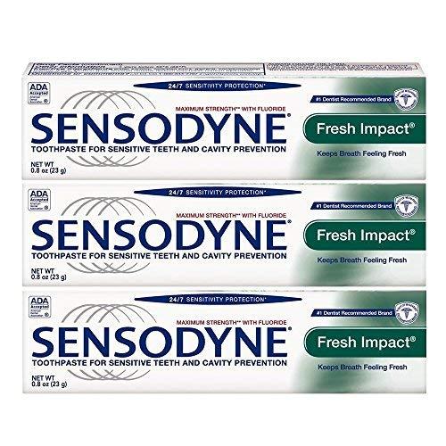 Sensodyne Fresh Impact Toothpaste for Sensitive Teeth, Travel Size 0.8 Ounce (23g) - Pack of 3