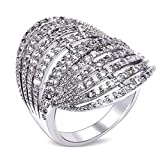 Beydodo 18K Gold plated Women's Ring (Promise ring) Hollow Hat Shaped CZ Size 6 White Gold