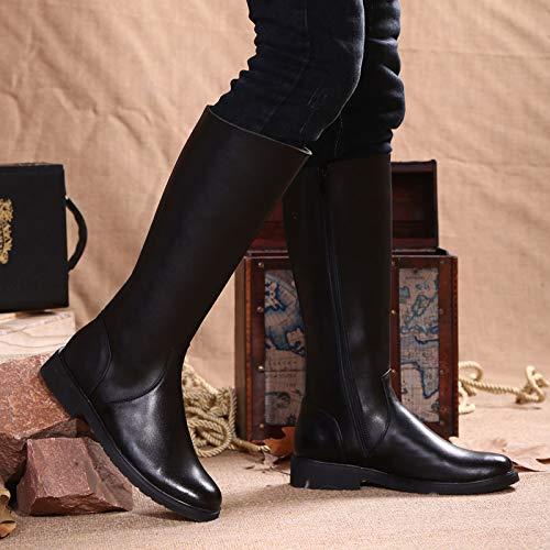Pelle Pelle Cavaliere Combattimento Antiscivolo Equitazione Militare Stivali Stivali Black Black Stivali Lunghi Esercito Stivali Uomo Vera Cavallo Impermeabile Nero Classico Alti w6qBzEI7W