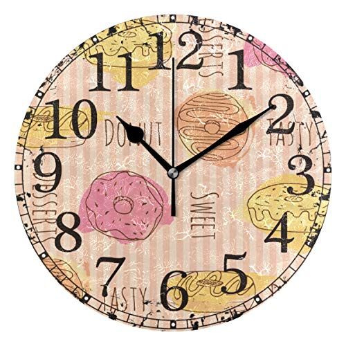 Black Striped Clock - Wall Clock Pink Yellow Orange Sweet Donut Striped Round Acrylic Clock Black Large Numbers Silent Non-Ticking 9.45