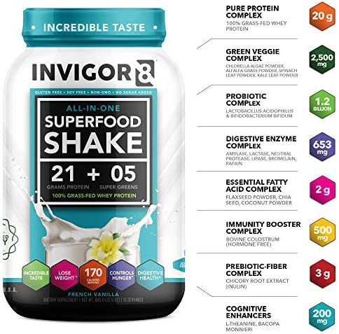 INVIGOR8 Superfood Protein Shake with Immunity Boosters - Gluten-Free Non GMO Meal Replacement Shake with Probiotics and Omega 3 (645 Grams) (French Vanilla) 5