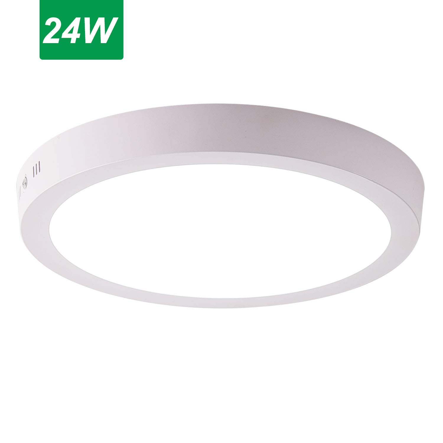 Jaycomey Round Flush Mount Ceiling Light,24W Surface Mounted LED Kitchen Ceiling Light Fixture,Panel Ceiling Lamps for Laundry, Stairwell, Kitchen, Bedroom, 6500K/Cool White,11.8 Inches