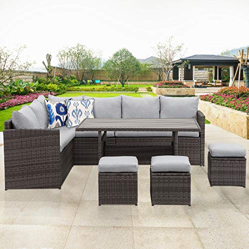 Wisteria Lane Patio Furniture Set,10 PCS Outdoor Conversation Set All Weather Wicker Sectional Sofa Couch Dining Table Chair with Ottoman,Grey