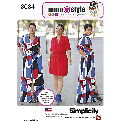 (Simplicity Pattern 8084 AA Misses' and Miss Plus' Shirt Dress in Two Lengths by Mimi G, Size 10-18)