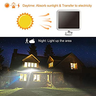 LEPOWER 1500LM Solar Lights Outdoor, Super Bright LED Motion Sensor Security Light, IP65 Waterproof, 6000K, 3 Adjustable Heads LED Flood Light, Automatic& Permanent On for Yard, Patio, Porch