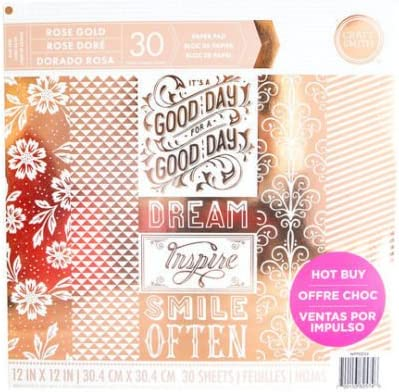 Craft Smith Rose Gold 12x12 Premium Cardstock Paper Pad with Gold Treatments