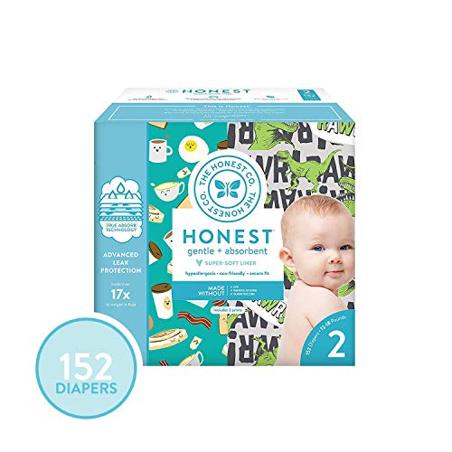 - The Honest Company Super Club Box Diapers with TrueAbsorb Technology, T-Rex & Breakfast, Size 2, 152 Count