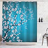 Blue Pink Shower Curtain Ambesonne Teal Shower Curtain Pink Blossoms Decor by, Leaves and Plants Ombre Spring Japanese Sakura Flowers in Garden Park, Fabric Bathroom Decorations, with Hooks, Blue Pink