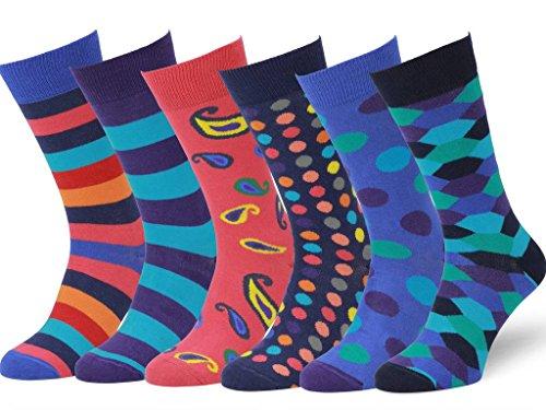 Men Tie Shoes Dress (Easton Marlowe Mens - 6 PACK - Colorful Patterned Dress socks - 6pk #6, mixed - bright colors, 43-46 EU shoe size)
