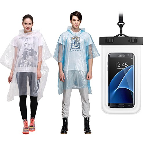 Disposable Rain Ponchos 5,10 Pack&Waterproof Cellphone Case,Individually packed,Assorted Colors,One Size Fits All,for Smart Cellphone Up to 6 inches …
