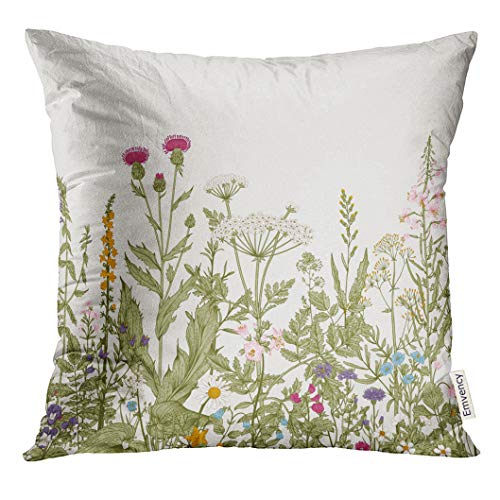Emvency Throw Pillow Cover Vintage Floral Border Herbs and Wild Flowers Botanical Engraving Style Colorful Field Decorative Pillow Case Home Decor Square 20x20 Inches Pillowcase - Floral Print Victorian