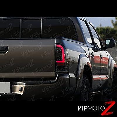 VIPMOTOZ Neon Tube LED Tail Light Lamp Assembly For 2005-2015 Toyota Tacoma - Matte Black Housing, Driver and Passenger Side: Automotive