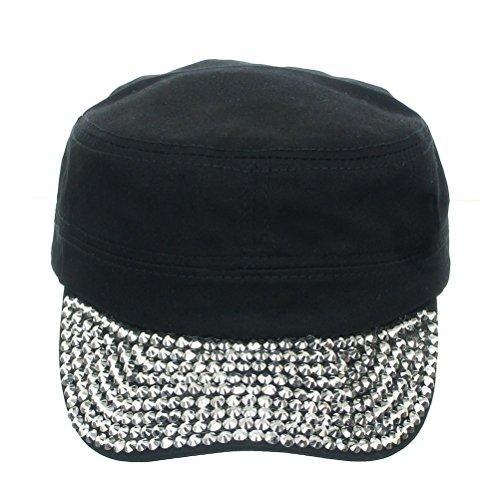 Visor Military Style Cap (Women's Jewel Visor Bling Military Style Cadet Cap One Size Black)