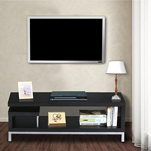 Steel Tv Stand Modern (Topeakmart Black Wood Open Design Media Console TV Stand Home Entertainment Center with Steel Legs for 45'' Flat Screen TV)