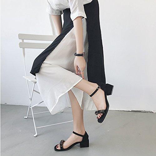 ed Estate punta elegante confortevole trapano sandali scarpe black e da con YMFIE nuova e lavoro acqua irregolare camoscio toe wHpqPRER