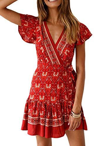 - Womens Summer Casual V-Neck Swing Ruffle Boho Floral Beach Wrap Mini Dress Sundress Red