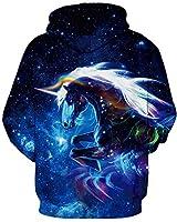 GLUDEAR Men's Plus Size Novelty Hoodie 3D Animal Patterns Pullover Fashion Sweatshirts,Galaxy Unicorn,S/M