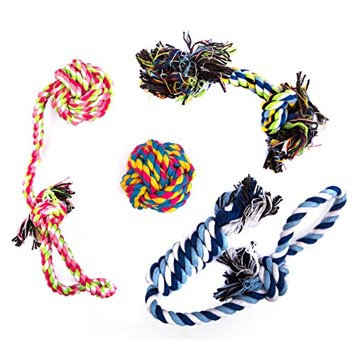 FunnyBall Dog Rope for Aggressive Chewers | Dog Chew Toys for Thick & Durable Knot Dog Toy for Dog Teeth & Teething | Dog Anxiety Toy & Stress Relief | Indestructible Dog Toys Set of 4 ()