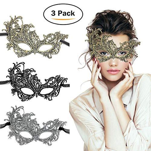 TreatMe Masquerade Mask - 3 Pack Women Venetian Mask Pretty Elegant Lady Masquerade Halloween Mardi Gras Party (Gold) ()