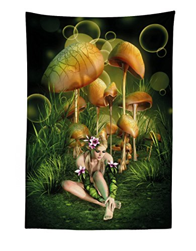 Lunarable Mushroom Tapestry, Fairy Woman in Enchanted Forest Elf Pixie in Flowers Grass, Wall Hanging Bedspread Bed Cover Wall Decor, 30 W X 45 L Inches, Green Pale Brown Pink