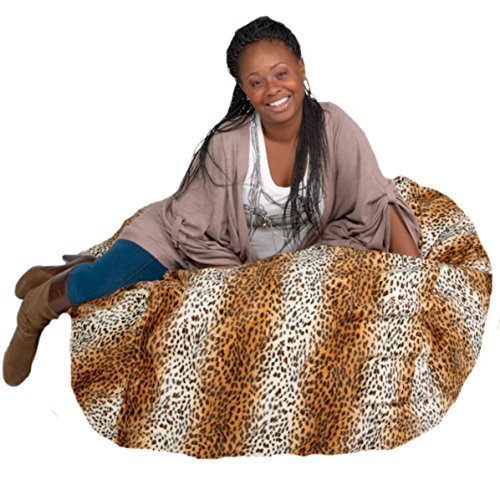 Cozy Sack Bean Bag Chair: Large 4 Foot Foam Filled Bean Bag - Large Bean Bag Chair, Protective Liner, Plush Micro Fiber Removable Cover - Leopard