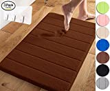 Yimobra Memory Foam Bath Mat Large Size 31.5 by 19.8 Inch,Maximum Absorbent,Soft,Comfortable,Non-Slip,Easier to Dry for Bathroom,Chocolate (Presented Wall Hooks 3 Pack)