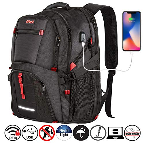 - Travel Laptop Backpack,TSA Friendly Approved 17 Inch Large Business Travel Computer Backpack with USB Charging Cable & Headphone Hole,RFID Protection, Durable Water Resistant Big College School Bag
