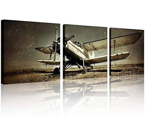 (TutuBeer Vintage Airplane Wall Art Giclee Canvas Vintage Airplane Canvas Prints Old Paper Airplane Pictures Canvas Stretched and Framed Aircraft Pictures Paintings Artwork for Home Decor,3 pcs/Set )